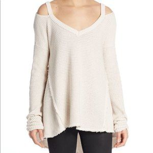 Free People Waffle Cold Shoulder Tunic Top. Size:S